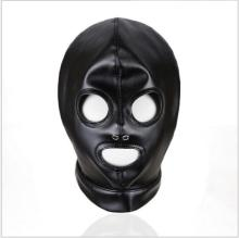 Buy Hot New Anatomical Leather Mask Black Rubber Fetish Latex Hood Mask Sexy Mouth Eyes Condom Rubber customized catsuit costume