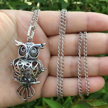 Fashion Jewelry Owl Pendant Necklace Female Fragrance Necklace Locket Long Chain Necklace Women Jewelry Gift