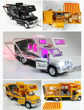Cool 1:32 DIY RV Car Model Toy acousto-optic recreational vehicle caravan touring bus sound&light&pull back car with furniture