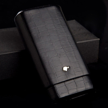 COHIBA Black Cigar Case Alligator Pattern Leather and Cedar Wood Lined Travel Humidor Box(China)