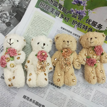 New 2pcs Teddy Bear Plush Toys Keychain Pendant Wedding Soft Toys For Bouquets Doll Brinquedos Girls Christmas Gift(China)