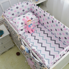 6pcs Stars Wavy Design Girls Boys Baby Bedding Set 100%Cotton Bedclothes In Crib Cot Crash proof Bumpers Bed Sheet Pillowcase(China)