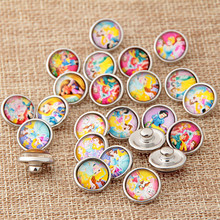 10pcs/lo 12mm Plastic Princess Snap Buttons fit DIY Snap Bracelet Jewelry NA12-019
