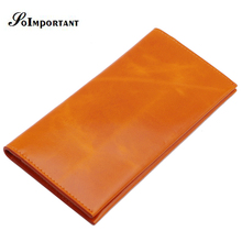 New Luxury Brand Wallet Purse Ultra-thin Long Wallet Female Genuine Oil Wax Leather Women Wallets Slim Credit Card Holder Clutch(China)