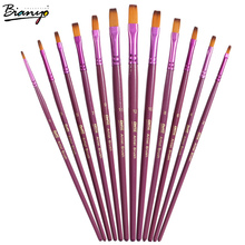 Bianyo 12Pcs Flat Head Acrylic Paint Brushes Watercolor Paint Painting Brush Set Student Children painter Art Lover Supplies(China)