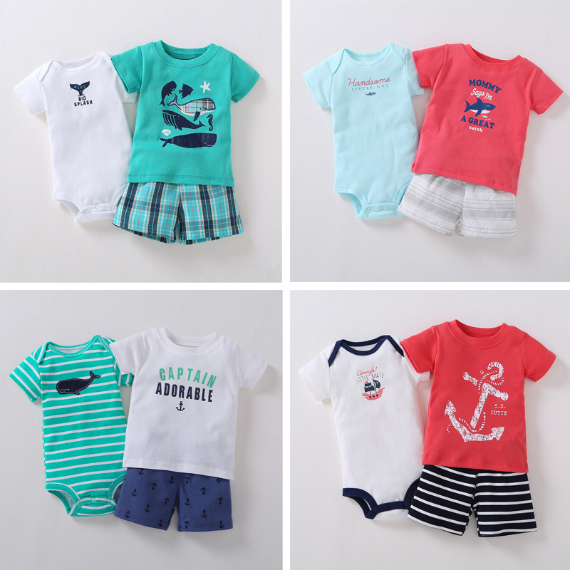 baby boy clothes newborn outfit short sleeve T shirt tops bodysuit shorts infant clothing summer set print costume new born suit