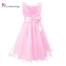Summer party fashion kids clothes rose princess pretty bow dress girls children dresses robe Formal Wedding Bridesmaid  tulle