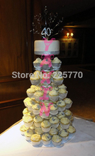 7 TIER CLEAR ACRYLIC CUPCAKE STAND TOWER WEDDING CAKE STAND BABY PARTY SHOWER DISPLAY wedding decoration(China)