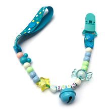 HandmadePersonalized Name With Dummy Clips Dummy Pacifier Clip Holder Chain Baby Nipple Feeding Supplies Kid Funny Clip Clothing(China)