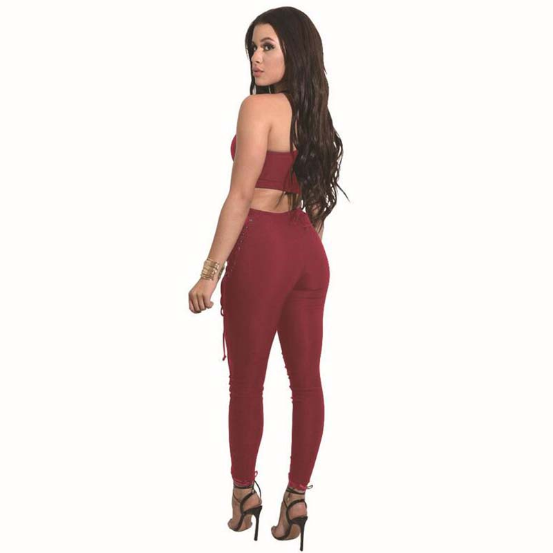 Sexy Fashion Two Piece Set Women Top And Pants 17 Summer Elasticity Women Slim Crop Tops+Slim Long Laced Pants Women's Suit 9