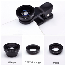 HOT SALE Universal Clip Camera 3 In 1 HD  Mobile Phone Len Fish Eye Macro Wide Angle For Iphone models For Android models