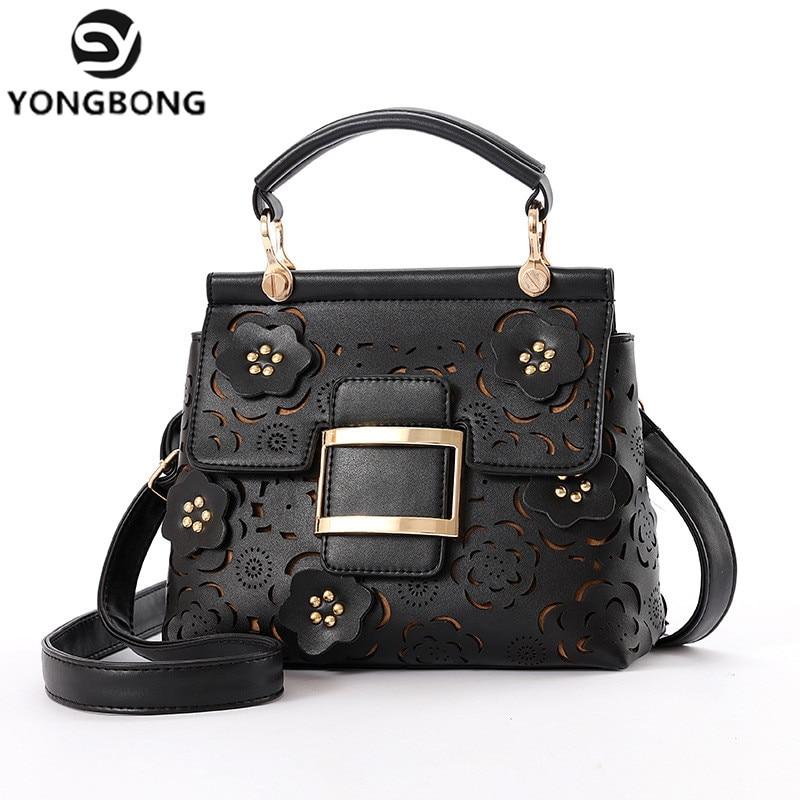 YONGBONG Flower Hollow Out Totes Women Messenger Bags Vintage Floral Design Handbag Female Crossbody Shoulder Bag Bolsa feminina<br>