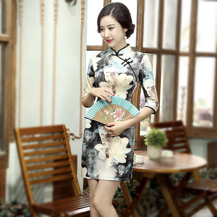 Spring Summer Daily Short Cheongsam Qipao Dresses Chipao New Slim Traditional Thin Fashion Improvement Ancient