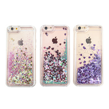 Glitter Heart/Stars Dynamic Liquid Quicksand Crystal Clear Transparent Case Meteor Twinkling Hard Cover For iPhone 5S 6 6S 6Plus(China)
