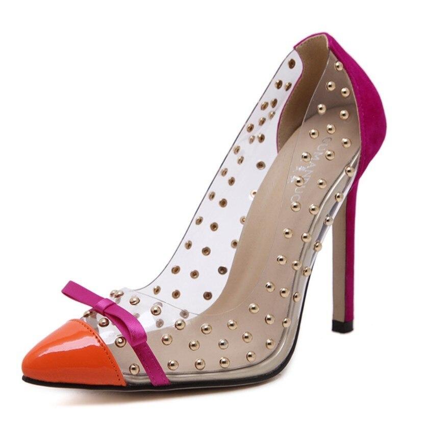 Plus Size 35-41 2017 Summer Transparent Clear Rivet Bow Women high heel Pumps Stiletto Brand Designer Shoes Sapato Feminino <br><br>Aliexpress
