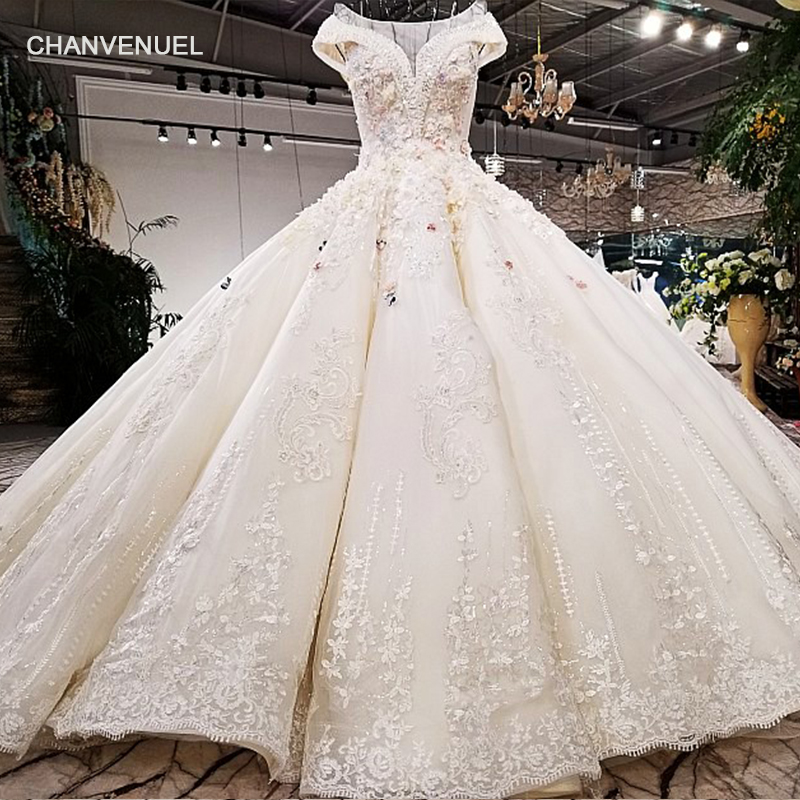 LS42101 real picture white satin pink flowers heavy design hand working beadings long train wedding dress 2018 new arrival