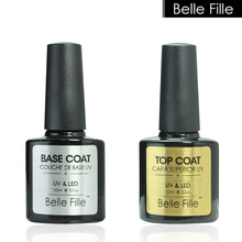 Belle Fille 10ml Gel Nail Polish Base Coat + Top Coat Polish Gel Soak Off UV LED Long Lasting Nail Gel Lacquer