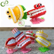 2pcs Spring Wind up Jump tooth Dental Gift Dental Toys wholesale spring Plastic Toys Jump Teeth Chain for Children GYH(China)
