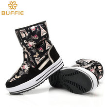 girls brand snow boots cold winter boots flower waterproof shoes lady fashion shoes warm natural wool high quality buckle boots(China)