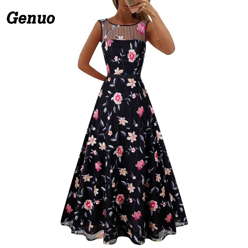 Flower Embroidery Maxi Dress 10