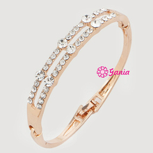 Fashion Hinged Bangles 2 Lines Rows Rhinestone Crystal Bangle Bracelet for Women Birthday Gift Jewelry