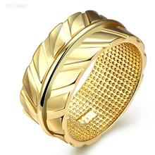 Engraving big wide gold-color Plant design Plain Band finger rings with round metal charm New Fashion for girl Jewelry Ring