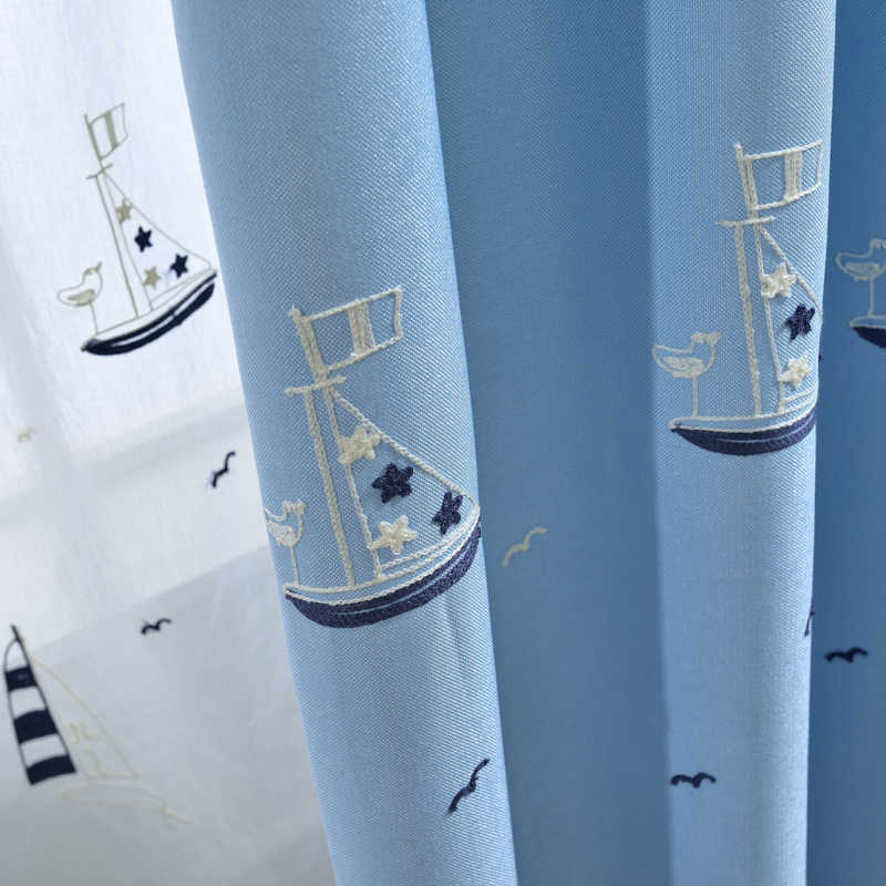 Cartoon Blackout Blue Curtains For Kids Bedroom Living Room Embroidered Sailing Boat Faux Linen Drapes White Tulle WP301&3