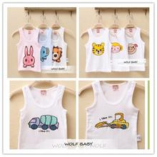 Retail 2-3pcs/pack 10M-4years sleeveless print vest T-shirt baby kids children Clothing girls boys Clothes Infant Garment summer