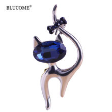 Cute Blue Cat Brooches Wedding Broach Hijab Pin Hippocampal Broches Gun Black Plated Brooch Bouquet Women Corsage Animal Collar(China)