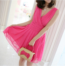 Free Shipping New Women Sexy Deep V Neck Elegant Chiffon Gowns Cocktail Party Dress Black Pink Rosy