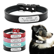 Soft Leather Personalized Laser Dog Collars Free Engraving Metal Buckle Custom Cat Puppy Pet Name Phone ID Collar XS S M(China)