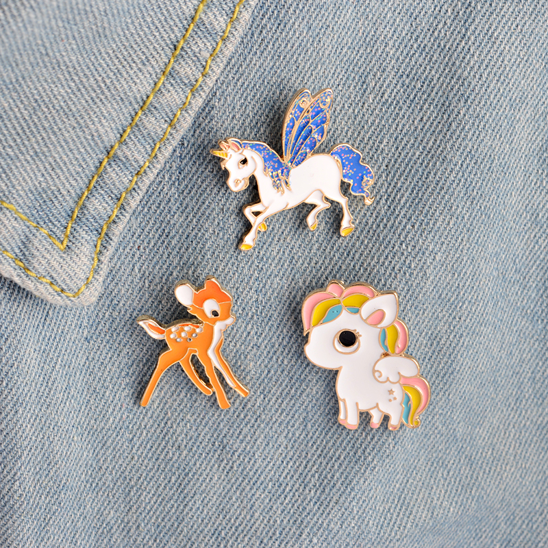 Miss Zoe 3pcs/set Cute little horse unicorn wings deer Brooch Button Pins Denim Jacket Pin Badge Cartoon Jewelry Gift for Kids(China (Mainland))