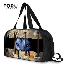 2017 Men Travel Bags Large Capacity Luggage Travel Duffle Bags Cool Husky Print Canvas Folding Boarding Bag for Trip