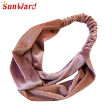 SunWard New Fashion Women Fashion Twisted Velvet Headbands Soft Turban Elastic Hairbands Bandage 161230 Drop Shipping