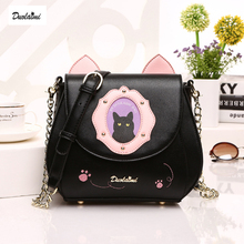 DuoLaiMi 2017 New Arrival Embroidery Rivet Cat Cartoon Court Diamond PU Cover Women's Shoulder Messenger Bag Crossbody Saddle(China)