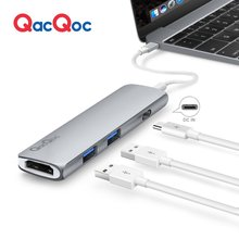 QacQoc GN22B Aluminium alloy USB C Hub with 4K Output Card Reader 2 USB 3.0 Ports Type-C Charging Port for Macbook 12-Inch