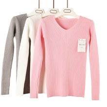 2016 New Fashion Style Slim Sweater Thin V-neck Long-sleeved Solid Color Knit Sweater Shirt Sexy Women Long Sleeve Knit Pullover