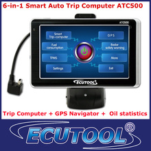 6 IN 1 MultiFunctional Car Smart Trip Computer ATC500 + GPS Navigation OBD 2 OBDii DTC Reader with 5.0' Color Touch Screen