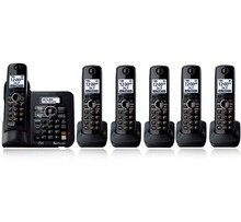 6 Handsets KX-TG6641 DECT 6.0 Digital wireless phone Black Cordless Phone with  Answering system