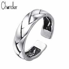 Chandler 100% Pure 925 Sterling Silver Braid Patten Ring For Women Geometric Simple Open Bague Thailand Silver Male Femme Bijoux