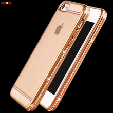 LELOZI Luxury Plating Gold Diamonds Frame Rhinestone Crystal Transparent Rubber Soft Case Phone Cover for iphone 6 6s / 6/6sPlus(China)