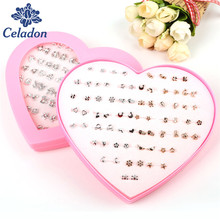 New Design 36pairs Silver And Rose Gold Mix Color Little girl earring stud sets cute earring set for kids child with heart box
