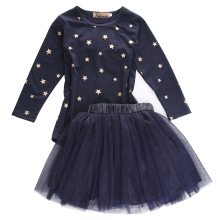 Toddler Baby Girls Star Pattern Outfits clothes Bowknot long sleeve T-shirt+ tulle Skirts 2pcs kids girls sets 2-7Y
