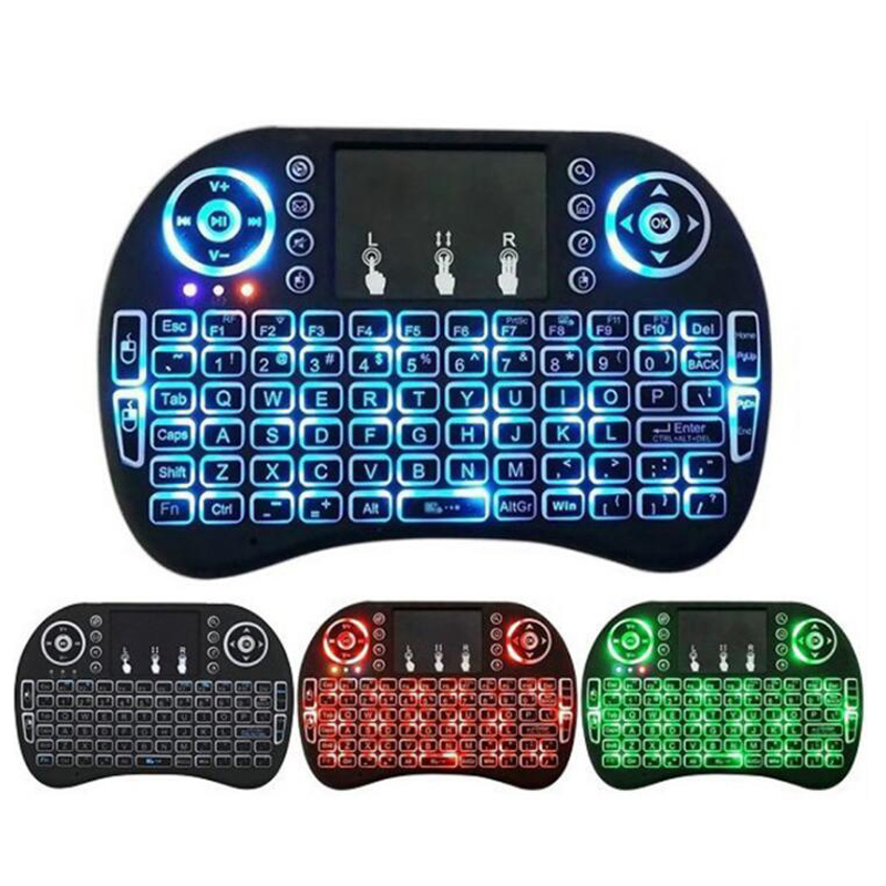 I8 Mini 2,4G teclado inalámbrico Touchpad Color retroiluminada Air Mouse ruso español para Android TV caja Xbox Smart PC TV PS3/PS4 HTPC title=