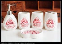 New Red LOVE Ceramic Bathroom Accessories Toothbrush Box Banheiro Bathroom Accessories Sets Home Decor(China)