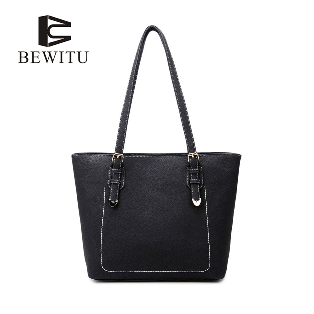 BEWITU Black Large Tote Bags for Women Casual Large Capacity Litchi Pattern Shoulder Bags Modern Style Big Bag<br>