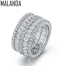 MALANDA Brand 2017 New Fashion Top Clear Zircon Rings For Women Luxury Female CZ Weddings Party Rings Jewelry Girl Best Gift(China)