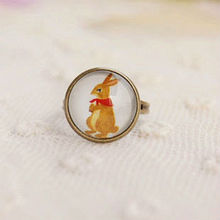 Wholesale Lovely Hare Cameo Ring Vintage Bronze Ring Fashion Costume Jewelry Rings 12pcs/lot JZ005(China)