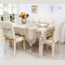 Home Hotel Dining/Wedding White Embroidery Table Cloth With Lace Jacquard Floral Cutwork Rectangular Tablecloths To Table Covers