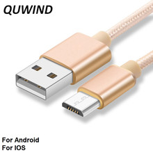 QUWIND 1M 2M 3M Nylon Braided Micro Usb Or 8 Pin Data Charging Cable for iPhone 6 6S 7 iPad Samsung HuaWei Andriod Phone